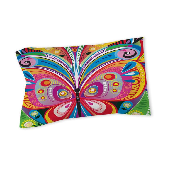 Vibrant Butterfly Pillow Vibrant Rainbow Butterflies Themed Abstract Art Pattern Cotton