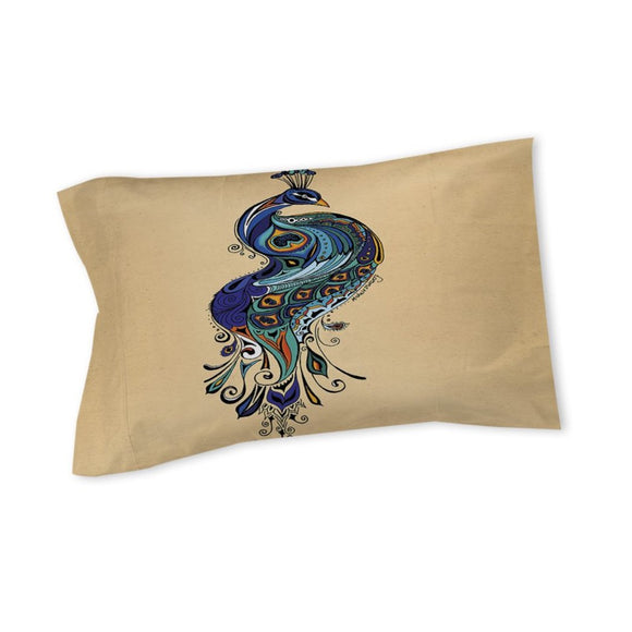Peacock Pattern Pillow Exotic Bird Themed Pea Cock Artistic Abstract Anmial Tones Floral Tail Cotton