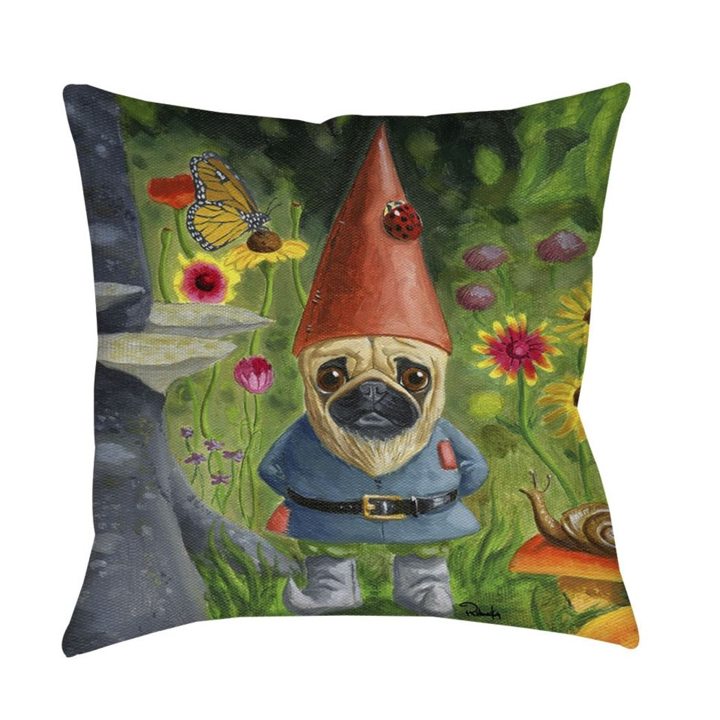 Cute Indoor Pug Gnome Throw Pillow Geometric Contemporary Pet Themed Design Dog Puppy Lover Flower Floral Butterfly Snail Daisy