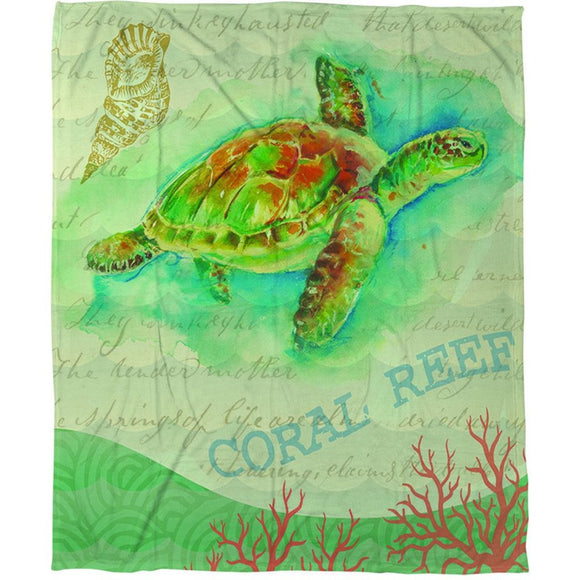 Turtle Pattern Throw Blanket Beach Themed Bedding Coastal Nautical Tropical Theme Bed Cover Sea Shell