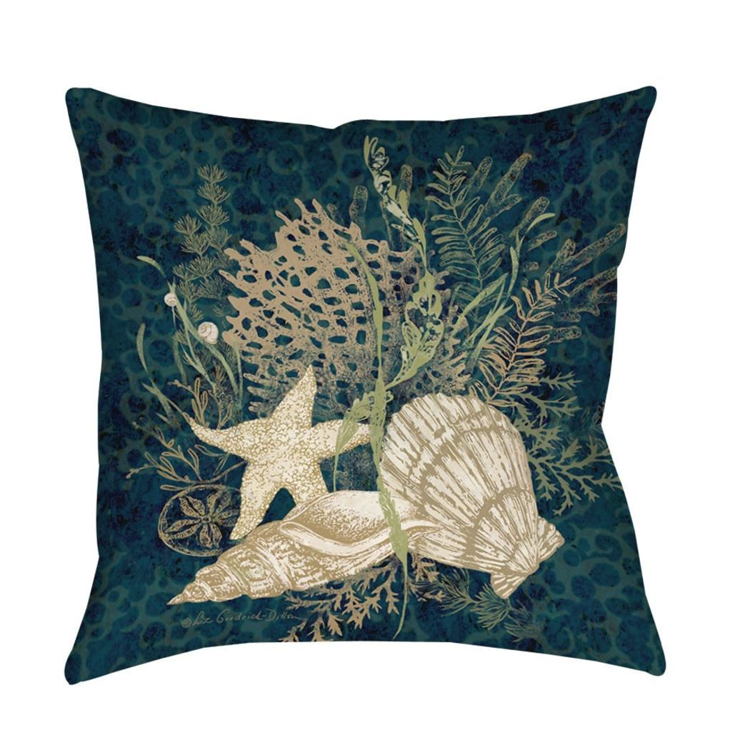 Sea Shells Theme Throw Pillow Vignette Coastal Ocean Starfish Sofa Pillow Chic Stylish Nautical Beach Pattern Cushion Square