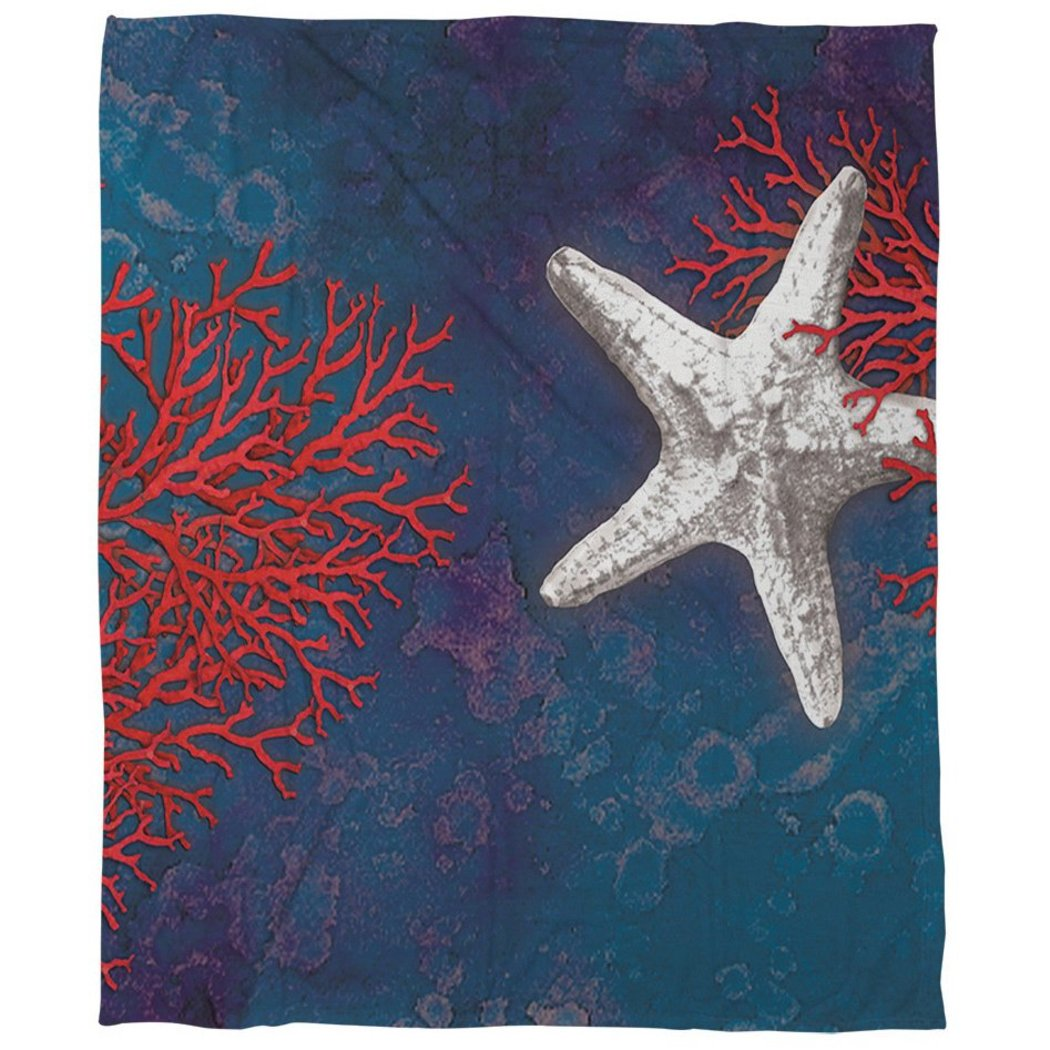 Coastal Themed Starfish Fleece Throw Blanket Kids Coastal Design Cozy Printed Novelty Plain Weave