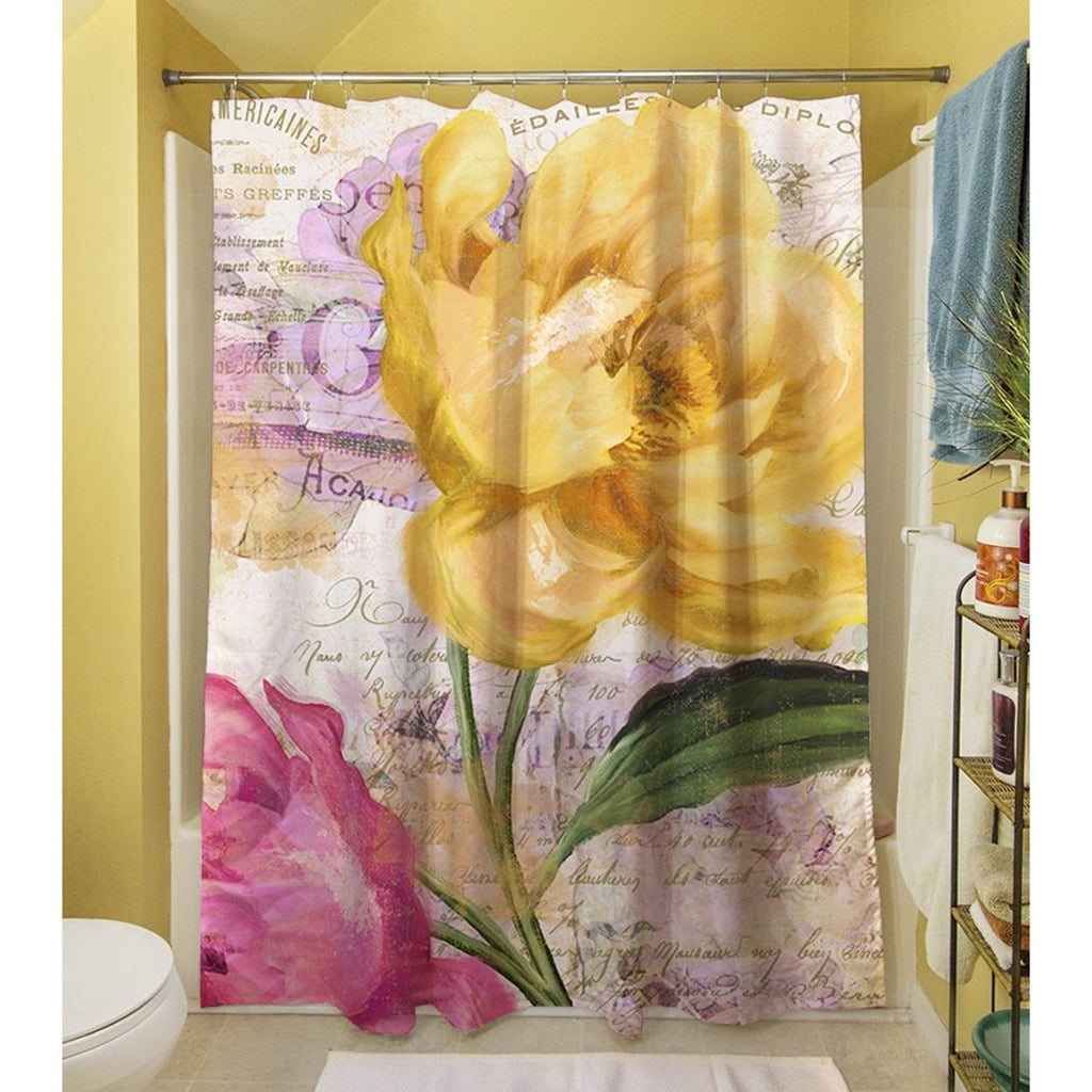 Yellow Purple Red Graphical Nature Themed Shower Curtain Polyester Detailed Rose Flower Printed Abstract Floral Pattern Classic Elegant Design Rich - Diamond Home USA