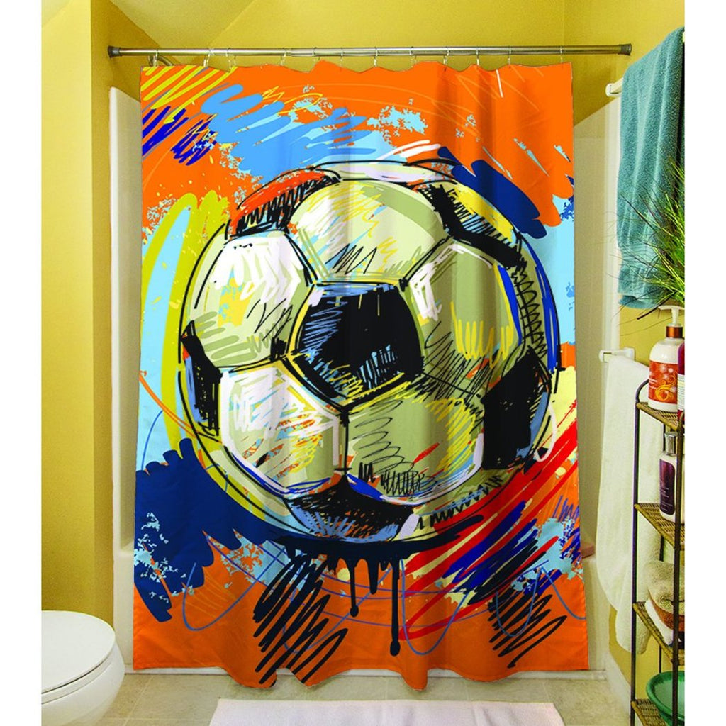 Boys Red Orange Soccer Sports Themed Shower Curtain Polyester Graphic Art Pattern Detailed Colorful Football Printed Modern Elegant Design Artistic - Diamond Home USA