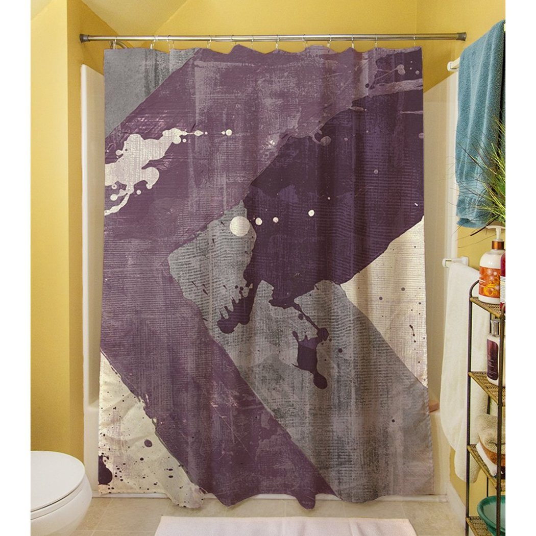 Purple Grey Abstract Pattern Shower Curtain Geometric Pattern Polyester Graphic Art Themed Colorful Splatter Printed Modern Elegant Design Artistic - Diamond Home USA