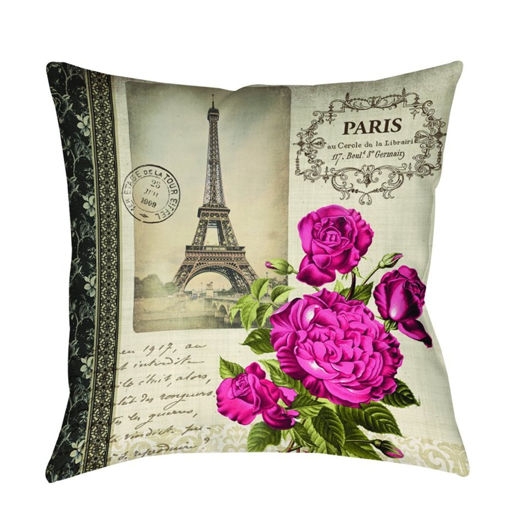 Thumbprintz Springtime Paris Throw Pillows Square Shape Neutral Tones Graphic Accent Type Polyester Knife Edging Spot