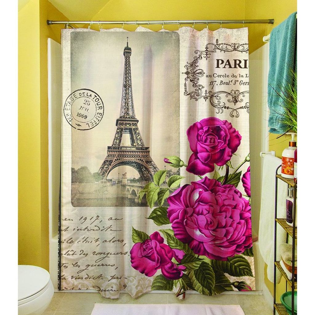 Girls Paris Themed Shower Curtain Eiffel Tower Pattern Bathroom Drapes France Inspired French Pretty Pink Purple