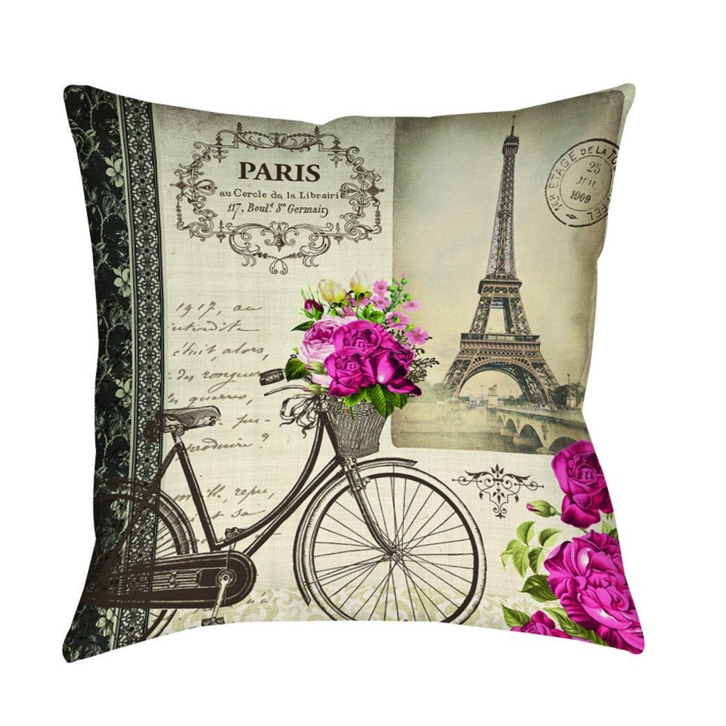 Springtime Paris Throw Pillows Square Shape Neutral Tones Graphic Pattern Accent Type Polyester Knife Edging Spot