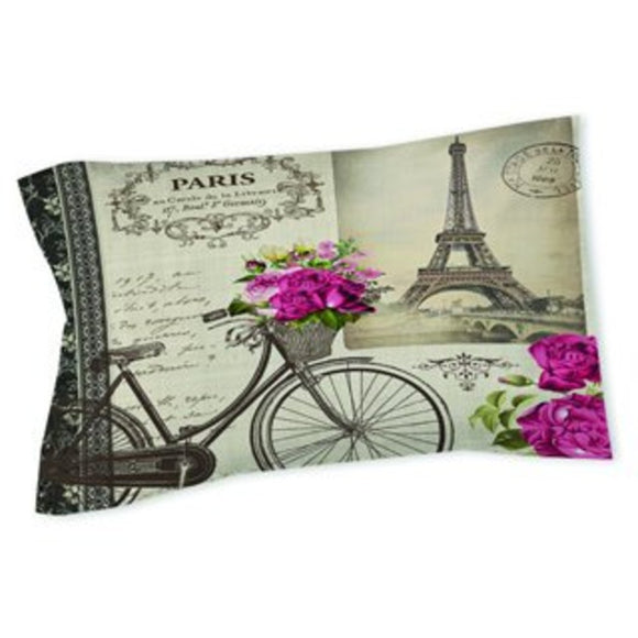Paris Themed Pillow Eiffel Tower Pattern Vintage Bicycle France Inspired French Theme Art Graphic