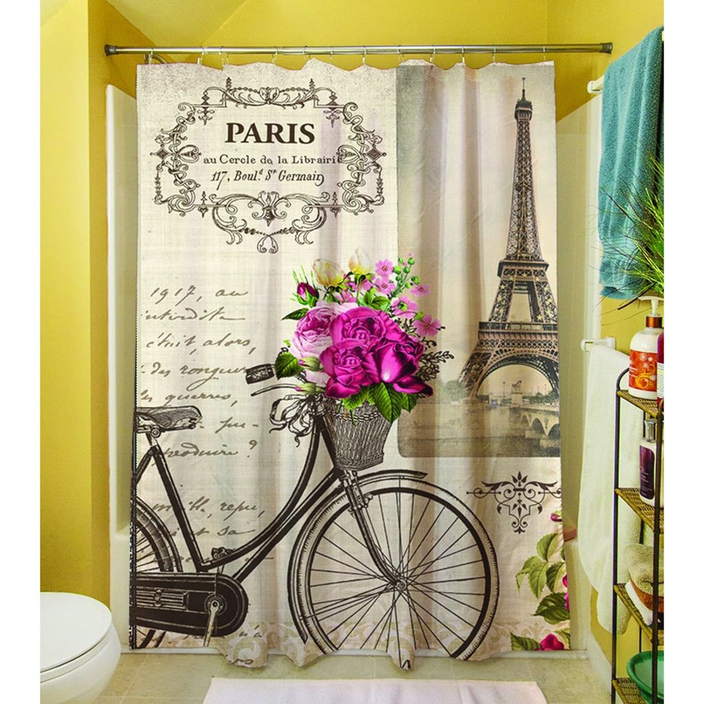 Springtime Paris Bicycle Themed Shower Curtain Eiffel Tower Autumn Love Lettering Illustration Decorative Vintage Vacation