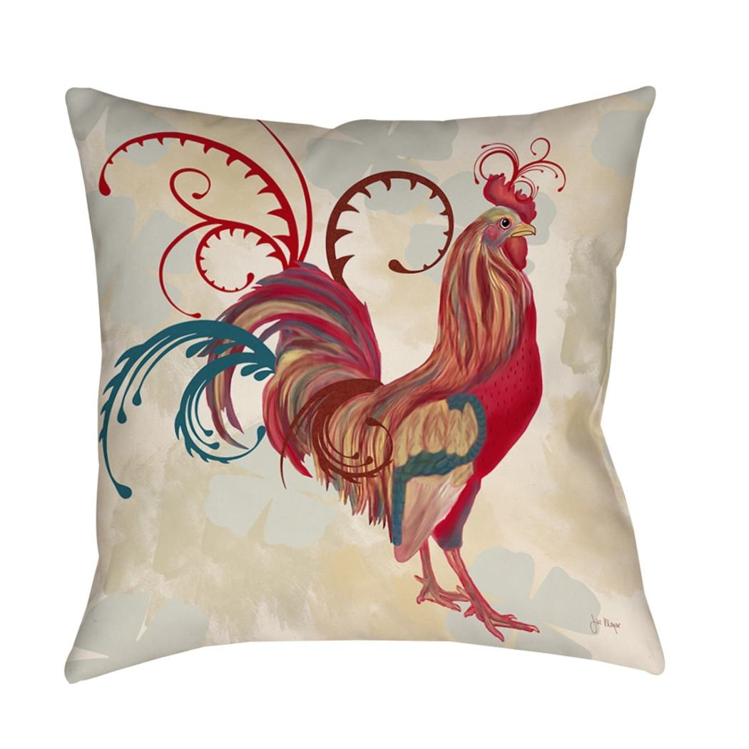 Decorative Rooster Throw Pillow Artwork Birds Printed Sofa Pillow Animal Cushions Art Scrollwork Absract Bright
