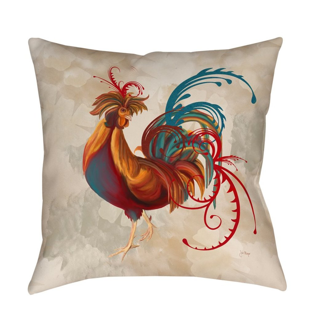 Decorative Rooster Throw Pillow Fancy Birds Printed Sofa Pillow Animal Cushions Art Scrollwork Absract Bright