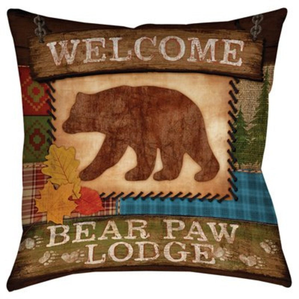 Bear Theme Throw Pillow Wildlife Animal Sofa Pillow Hunting Design Southwest Cottage Lodge Applique Pattern Cushion Mountain Animals