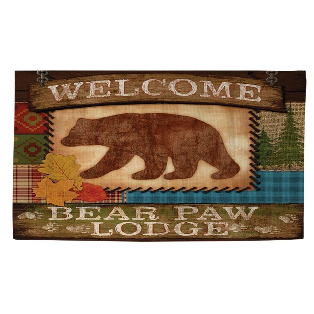 4'x6' Beige Brown Bear Paw Lodge Printed Runner Rug Indoor Animal Pattern Living Room Rectangle Carpet Southwest Cabin Themed Soft Synthetic Hunting - Diamond Home USA