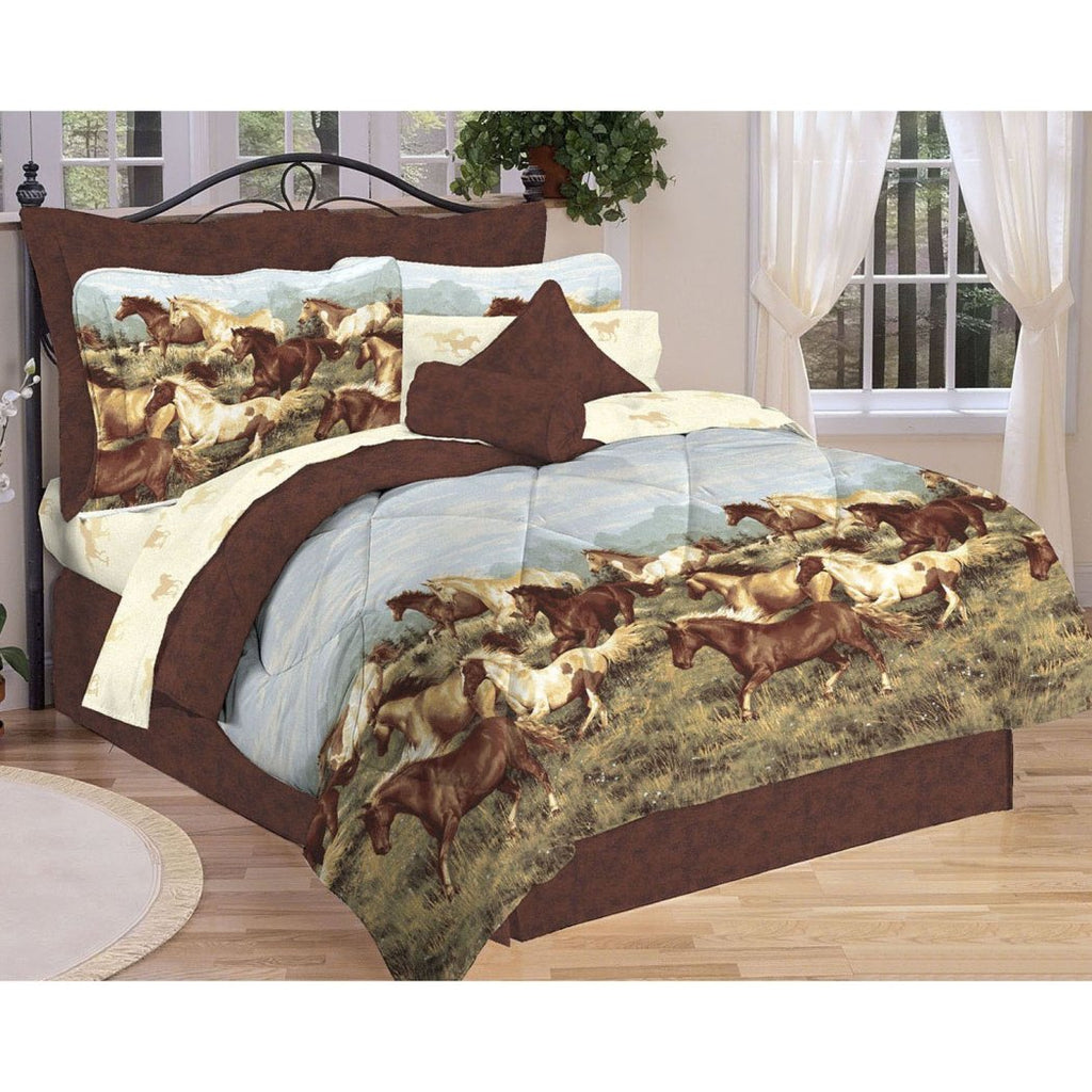 Horse Themed Comforter Set Galloping Stallions Bedding Ranch Farm Horse Running Country Animal Pattern Southwestern Polyester Cotton