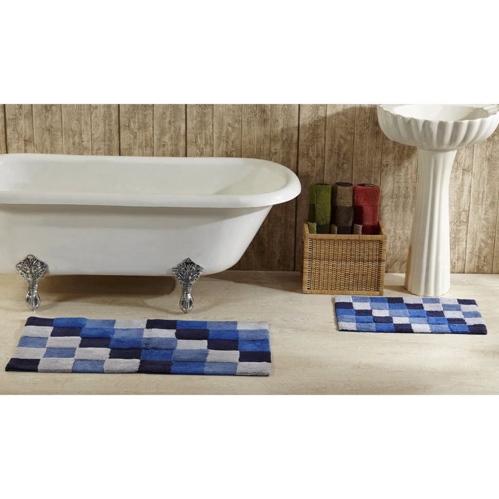 Oversized Geometric Bath Rug Set Oversize Checkered Checked Pattern Bathroom Rug Block Mat Theme Square Blocks Check Luxurious Soft Sleek Trendy Stylish Cotton