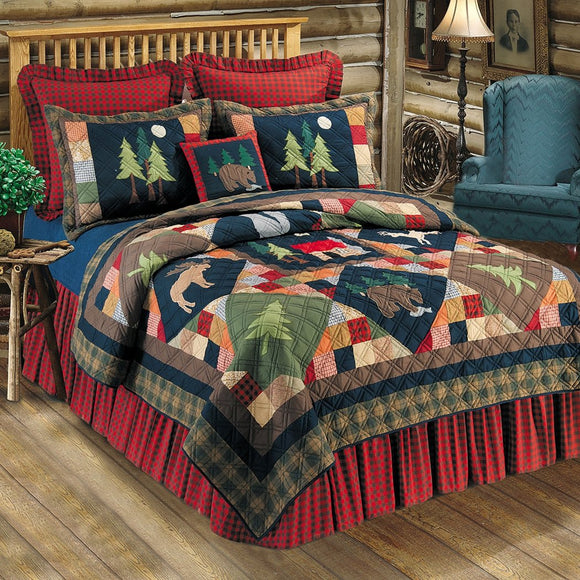 Embroidered Nature Patchwork Pattern Quilt Elegant Bock Cabin Lodge Theme Wildlife Animals Decorated Plaid Borders Vibrant Cotton