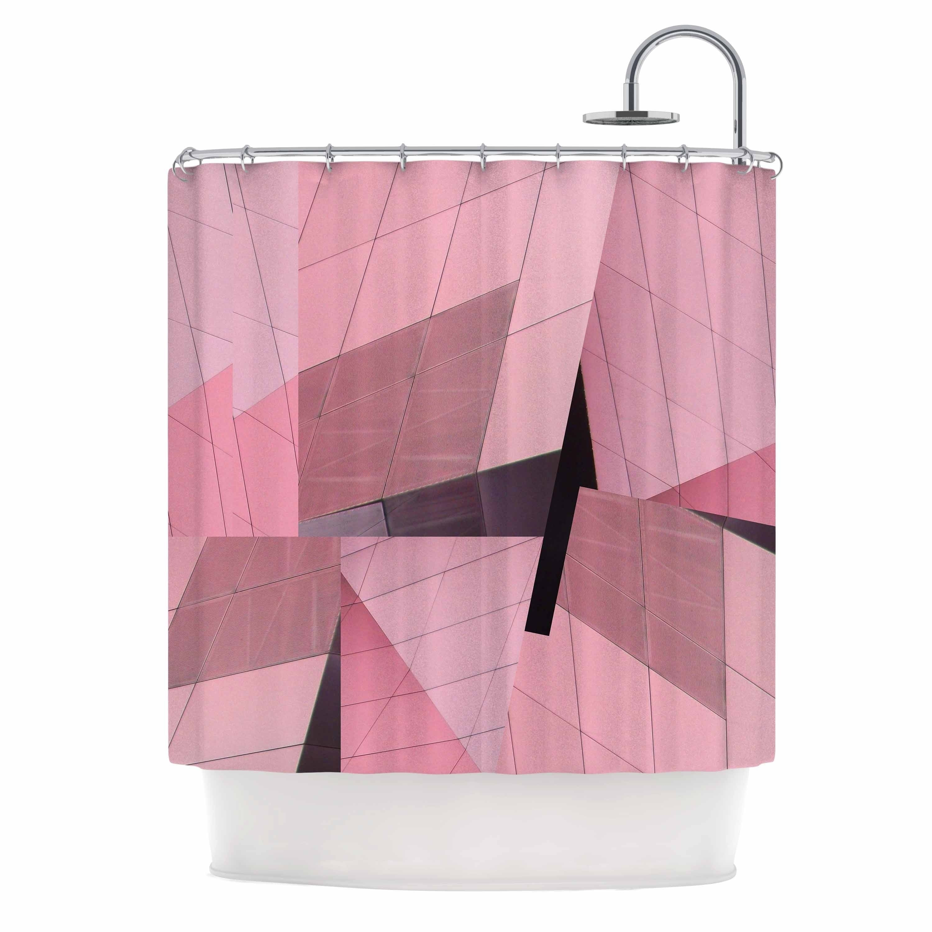 "Tiny September "" Pink Flamingo"" Shower Curtain Pink Polyester - Diamond Home USA"