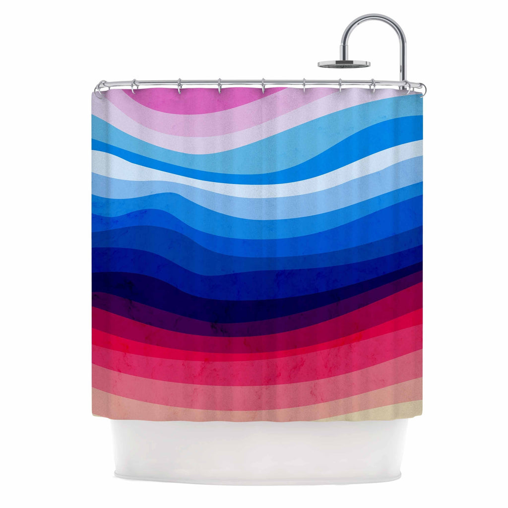 "Tobe Fonseca "" Melted Rainbow"" Multicolor Digital Abstract Shower Curtain Blue Polyester - Diamond Home USA"