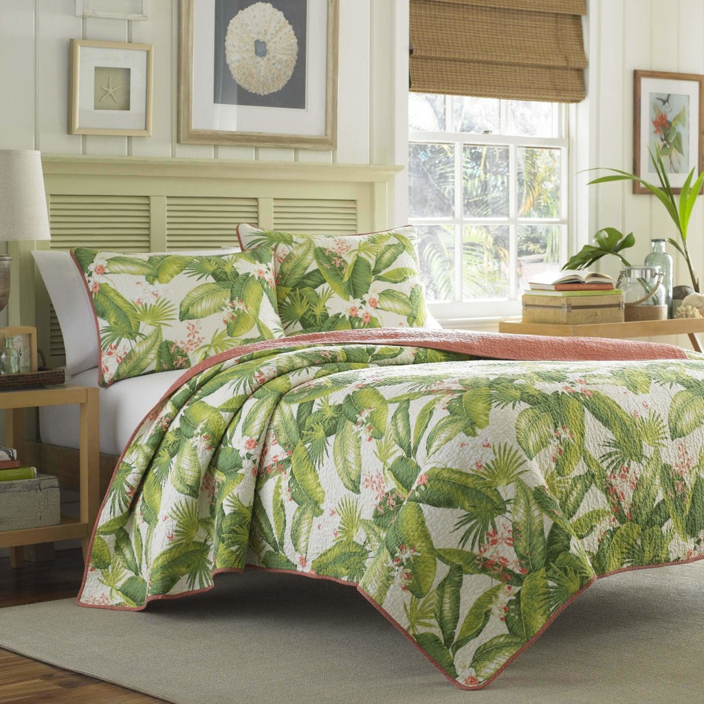Quilt Set Tropical Palm Tree Floral Themed Bedding Leaves Leafy Hawaiian Vintage Flowers Cottage Cabin Summer Fun Flower