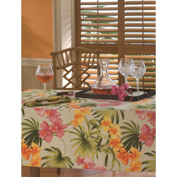 African Floral Oblong Tablecloth Splash Flower Tropical Garden Leaf Printed Boho Chic Rectangle Dining Table Cover