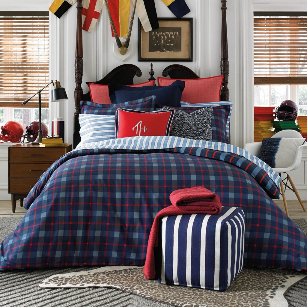 Tommy Hilfiger Boston Plaid Comforter Set Twin X Large - Diamond Home USA