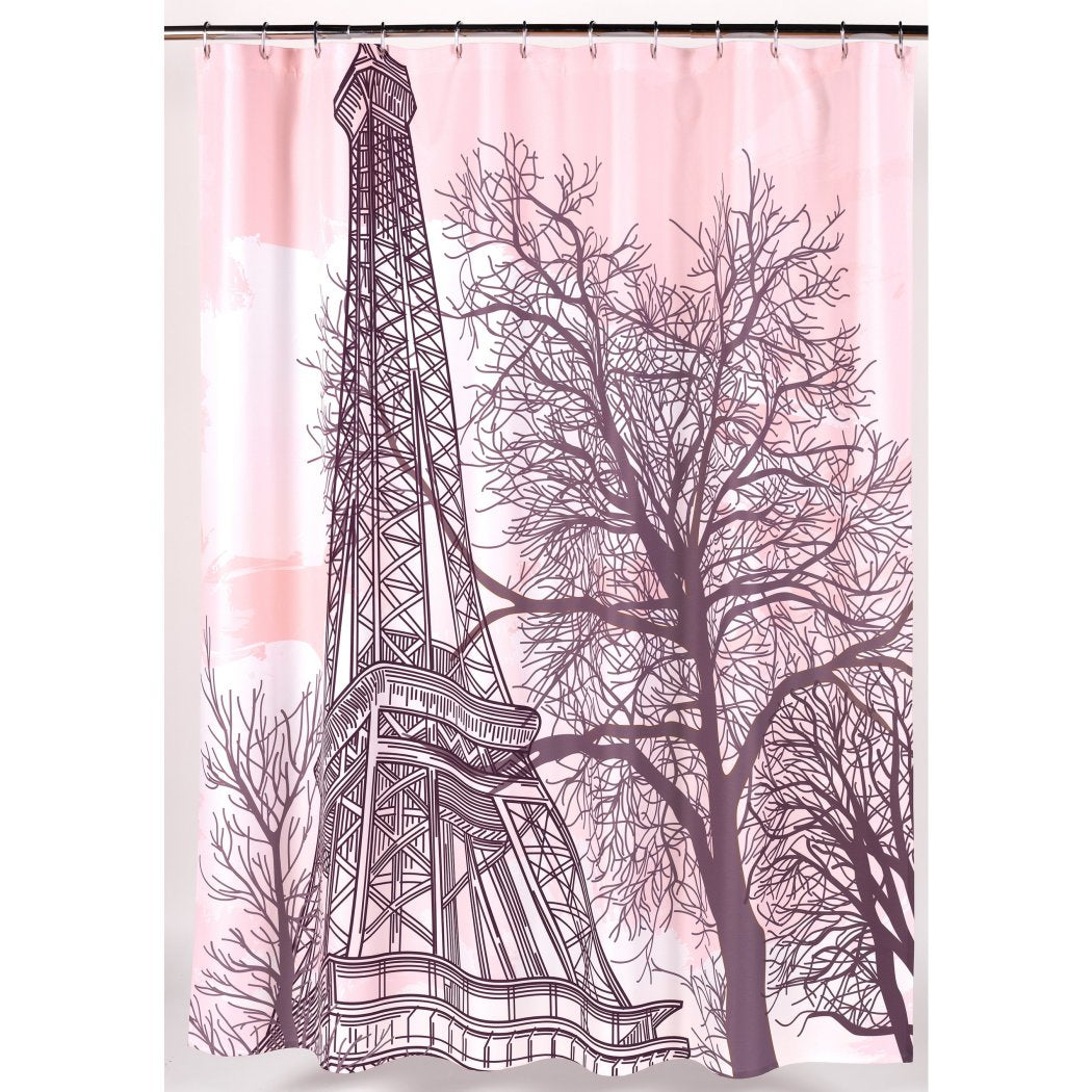 Girls Pink Brown Graphic Art Themed Shower Curtain Polyester Detailed Colorful Eiffel Tower Printed Abstract Graphical Pattern Modern Elegant Design - Diamond Home USA
