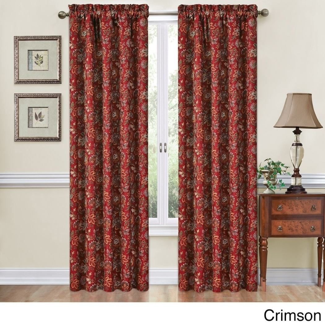 Girls Jacobean Floral Window Curtain Single Panel Flowers Printed Hippy Bohemian Damask Jacquard Fabric Window Treatment
