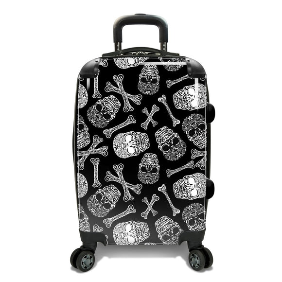Black White Skull Bone Theme Luggage Hardtop Hardside Roller Set Scrollwork Inritcate Skulls Themed Hard Side Top Carry Suitcase Upright Spinner - Diamond Home USA