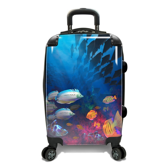 Color Underwater Fishs Theme Luggage Hardtop Hardside Roller Set Rainbow Coral Fish Ocean Sea Themed Hard Top Side Carry Suitcase Rolling Upright - Diamond Home USA