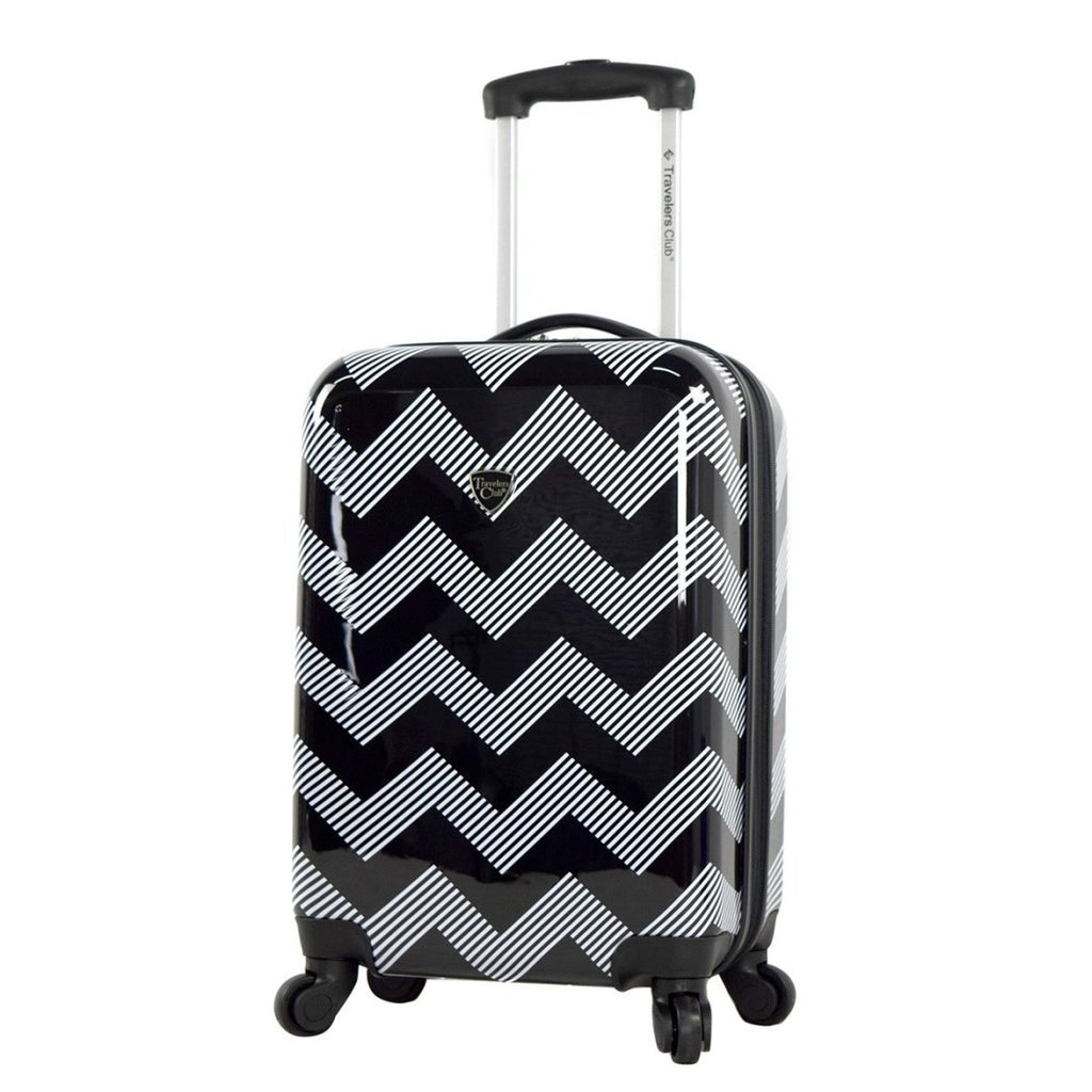 Chevron Hardtop Luggage Hardside Carry Spinner Suitcase Black White Chic - Diamond Home USA