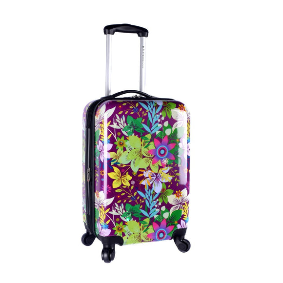 Purple Flower Hardtop Luggage Hardside Carry Spinner Suitcase Girls Floral - Diamond Home USA
