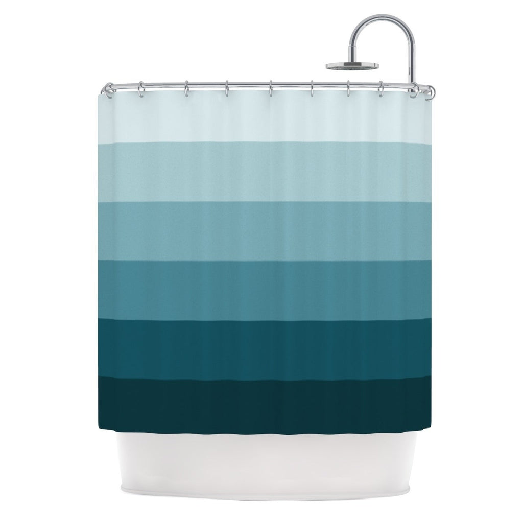 "Trebam "" Cijan"" Navy Teal Shower Curtain Blue Polyester - Diamond Home USA"