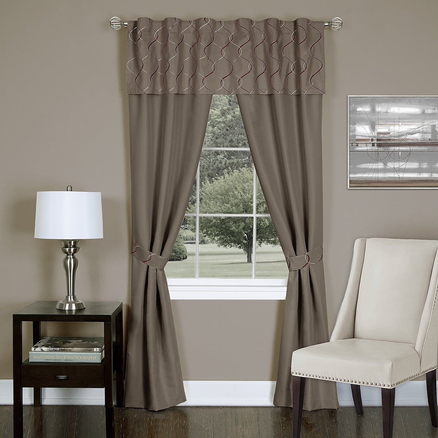 Solid Window Curtain Set Metallic Two Toned Embroidered Wave Pattern Valance Tiebacks Drape Modern Unique Stylish