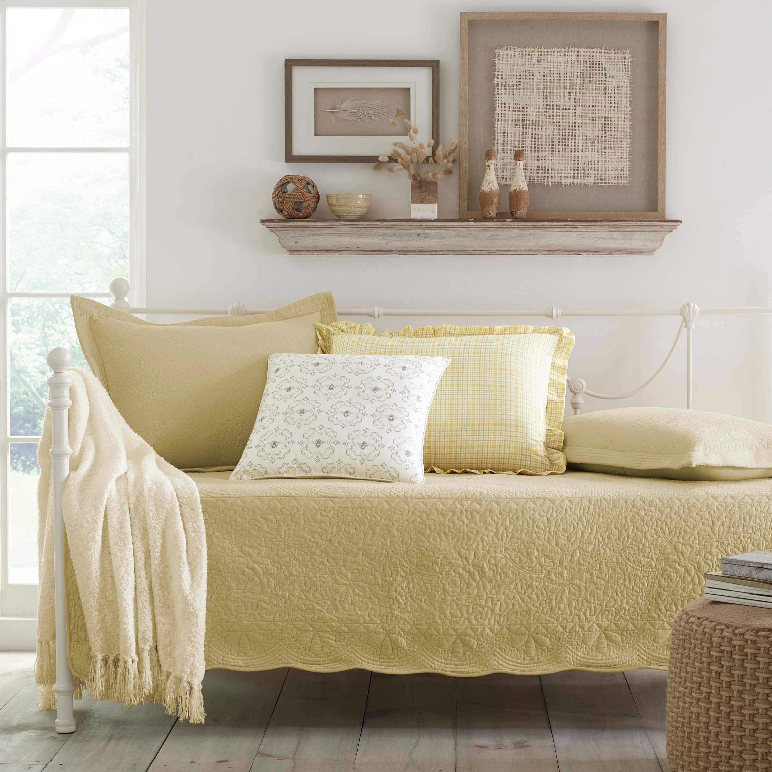 Trellis Maize 5-piece Daybed Set Yellow Damask Embroidered Paisley Solid Color Cotton Bedskirt Included - Diamond Home USA