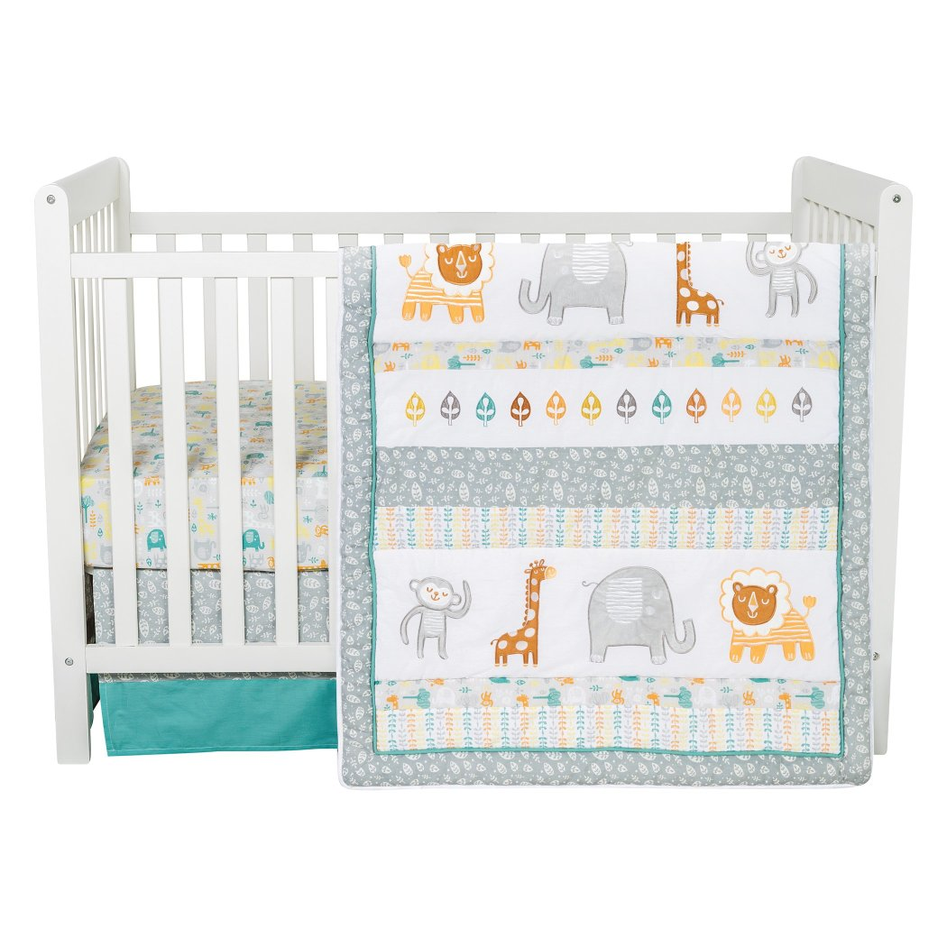 Baby Grey Orange White Lullaby Jungle Crib Bedding Set Newborn Animal Themed Nursery Bed Set Infant Child Elephant Giraffe Monkey Lion - Diamond Home USA