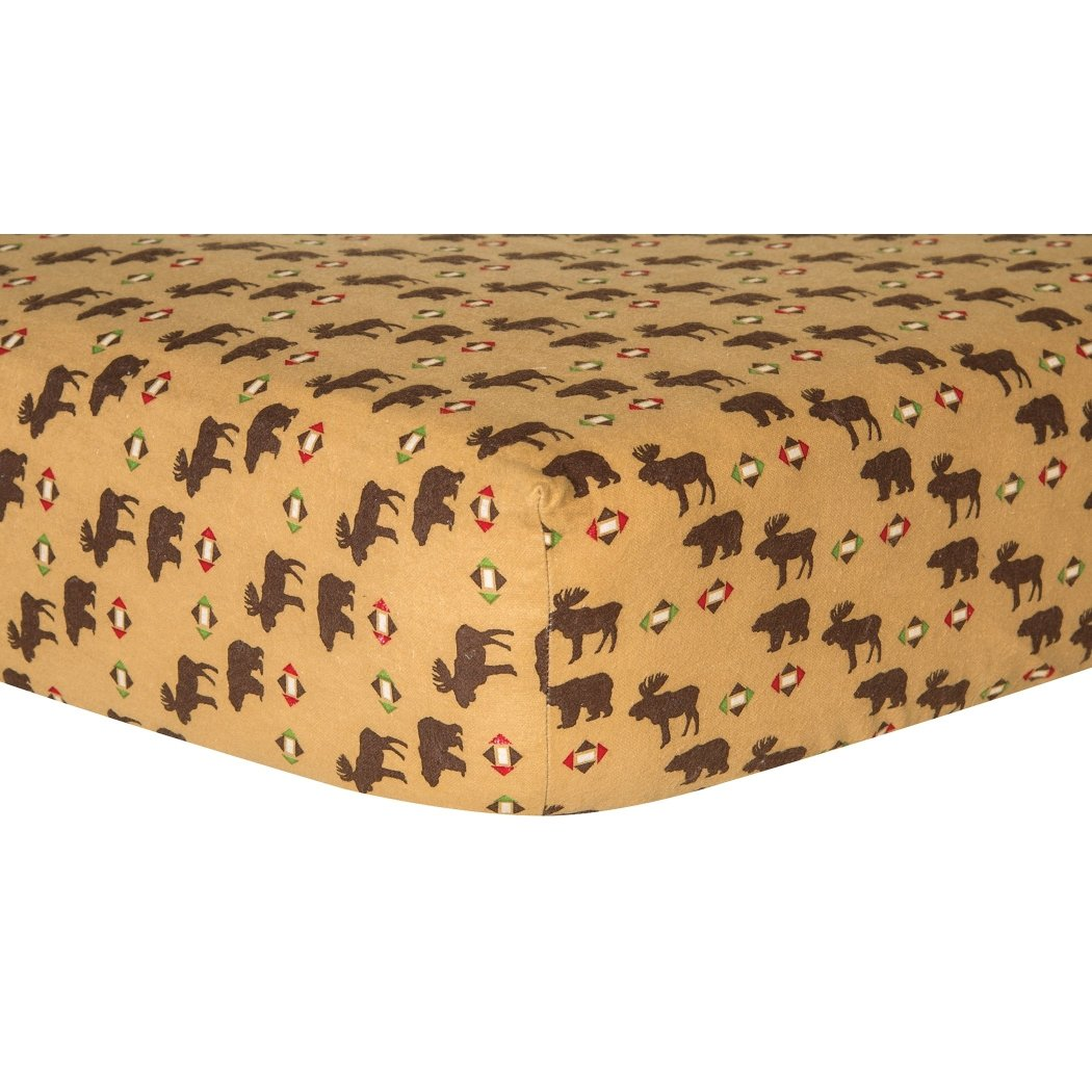Ln Boys Brown Tan Northwoods Deluxe Flannel Fitted Crib Sheet Animal Themed Nursery Bedding Infant Child Toddler Moose Nature Bear Forest Cute Adorable Cotton - Diamond Home USA
