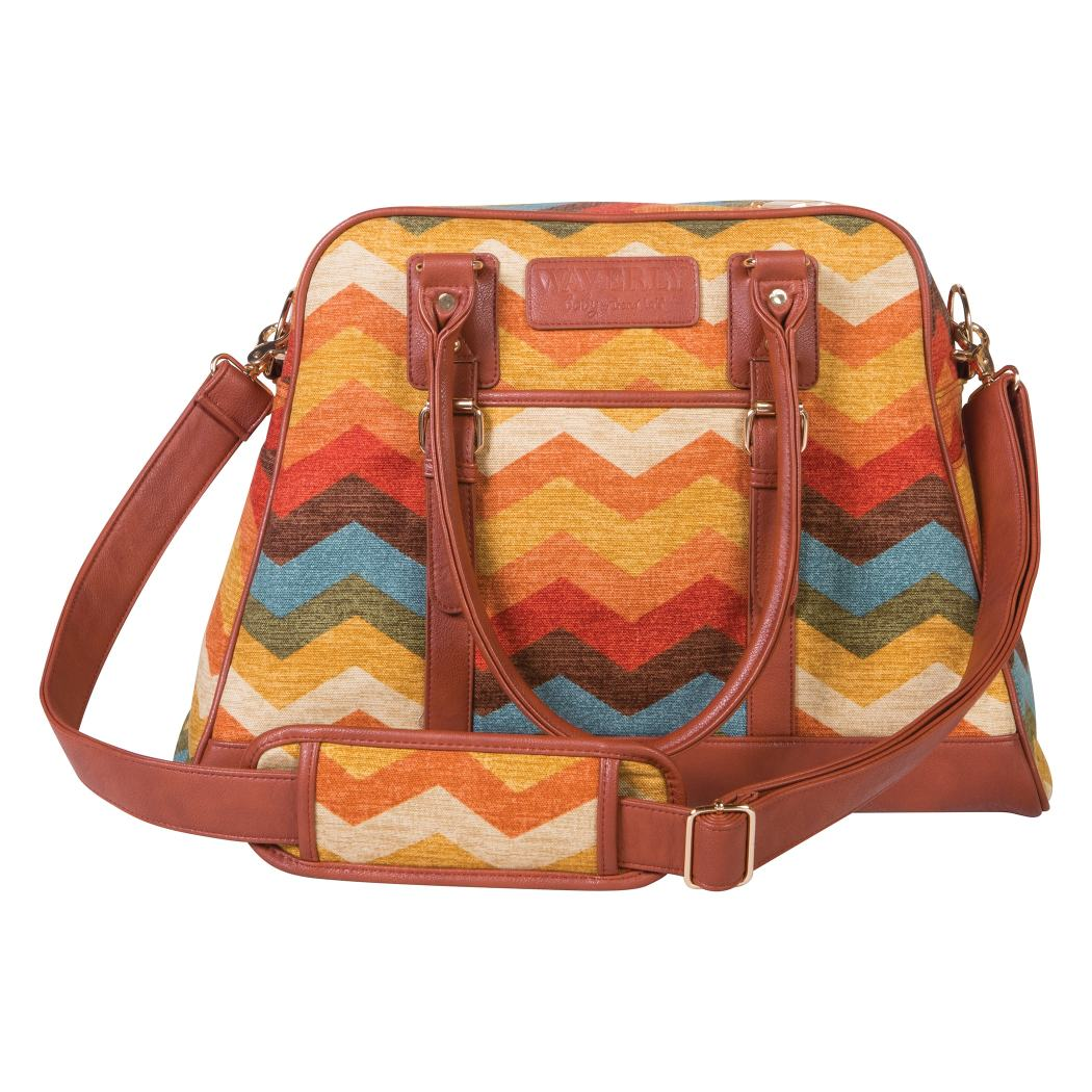 Orange Tan Large Chevron Diaper Bag Babies Baby Nursery Tote Backpack Carrier Ikat Zig Zag Pattern Design Roomy Changing Pad Zippered Storage Shoulder Strap Cotton - Diamond Home USA