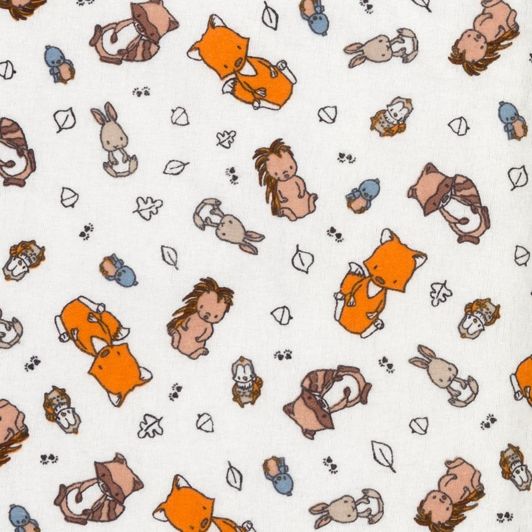 White Orange Brown Woodland Creatures Flannel Fitted Crib Sheet Animal Themed Nursery Bedding Infant Child Toddler Fox Rabbit Hedgehog Forest Nature Cute Adorable Cotton - Diamond Home USA