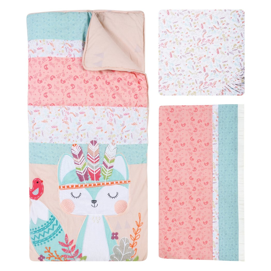 Baby Girls Pink Blue White Woodland Creatures Crib Bedding Set Newborn Animal Themed Nursery Bed Set Infant Child Floral Flowers Paisley - Diamond Home USA