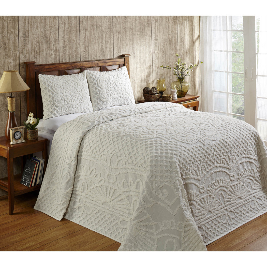 Oversized Chenille Bedspread Drapes Over Edge Drops Down Floor Oversize Coastal Geometric Extra Long Wide Bedding Medallion Casual Solid