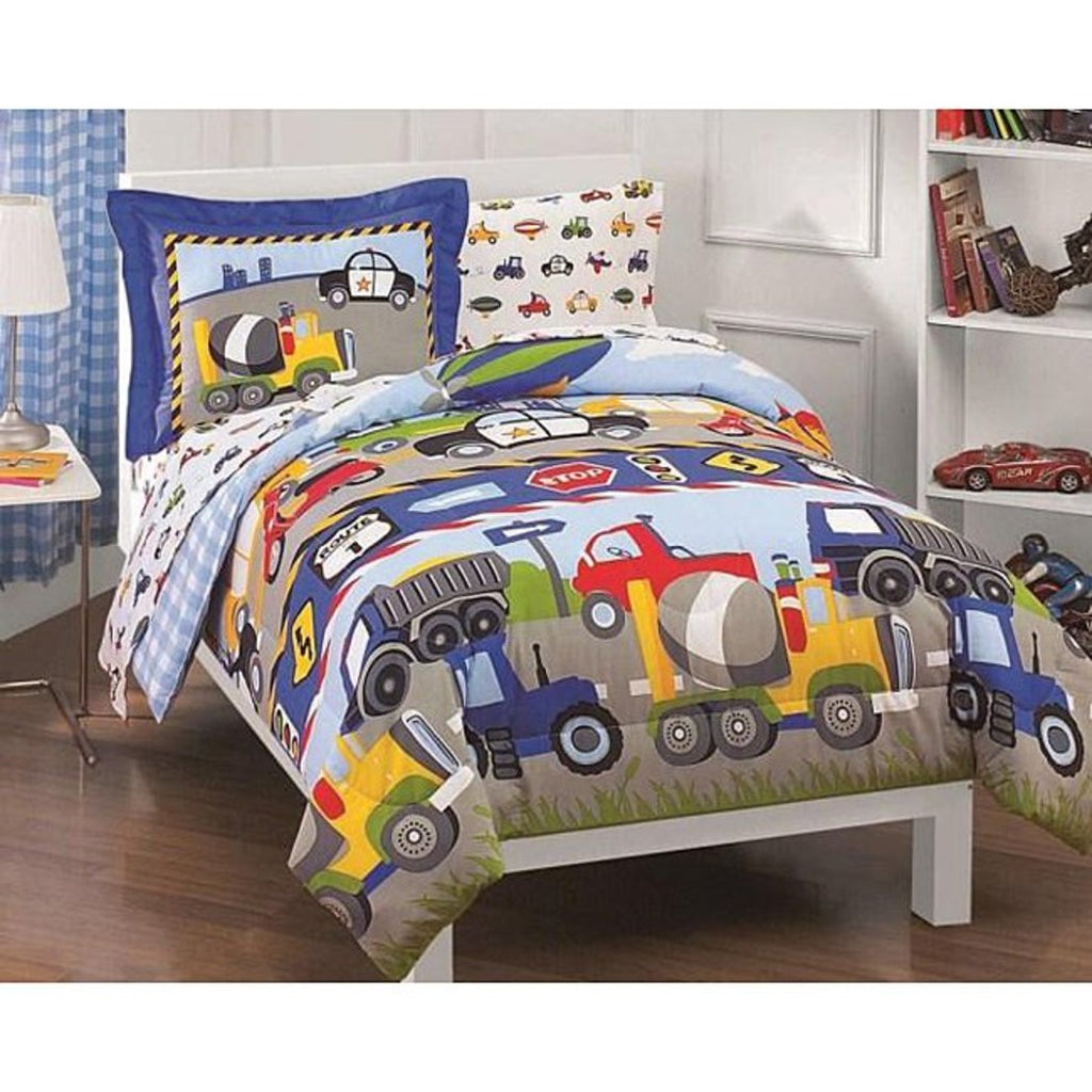 Trains Construction Trucks Twin Comforter Bed Bag Kids Bedding Childrens Bedding Comforters - Diamond Home USA