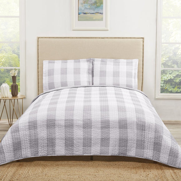 Plaid Quilt Set Checkered Lodge Cabin Themed Bedding Tartan Madras Ljack Striped Line Pattern Squares Horizontal Vertical