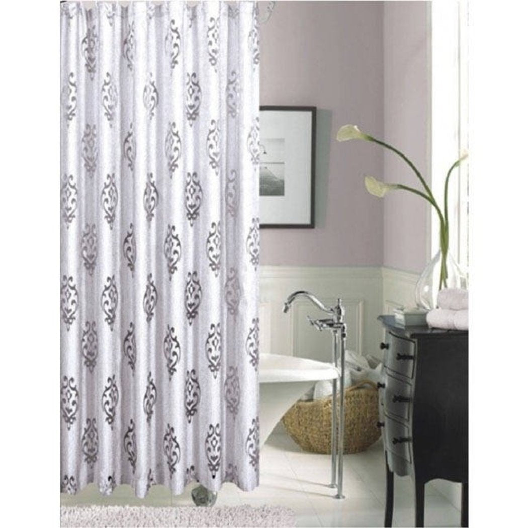 Silver Black Graphical Nature Themed Shower Curtain Polyester Detailed Damask Flowers Printed Abstract Floral Pattern Classic Elegant Design Rich - Diamond Home USA