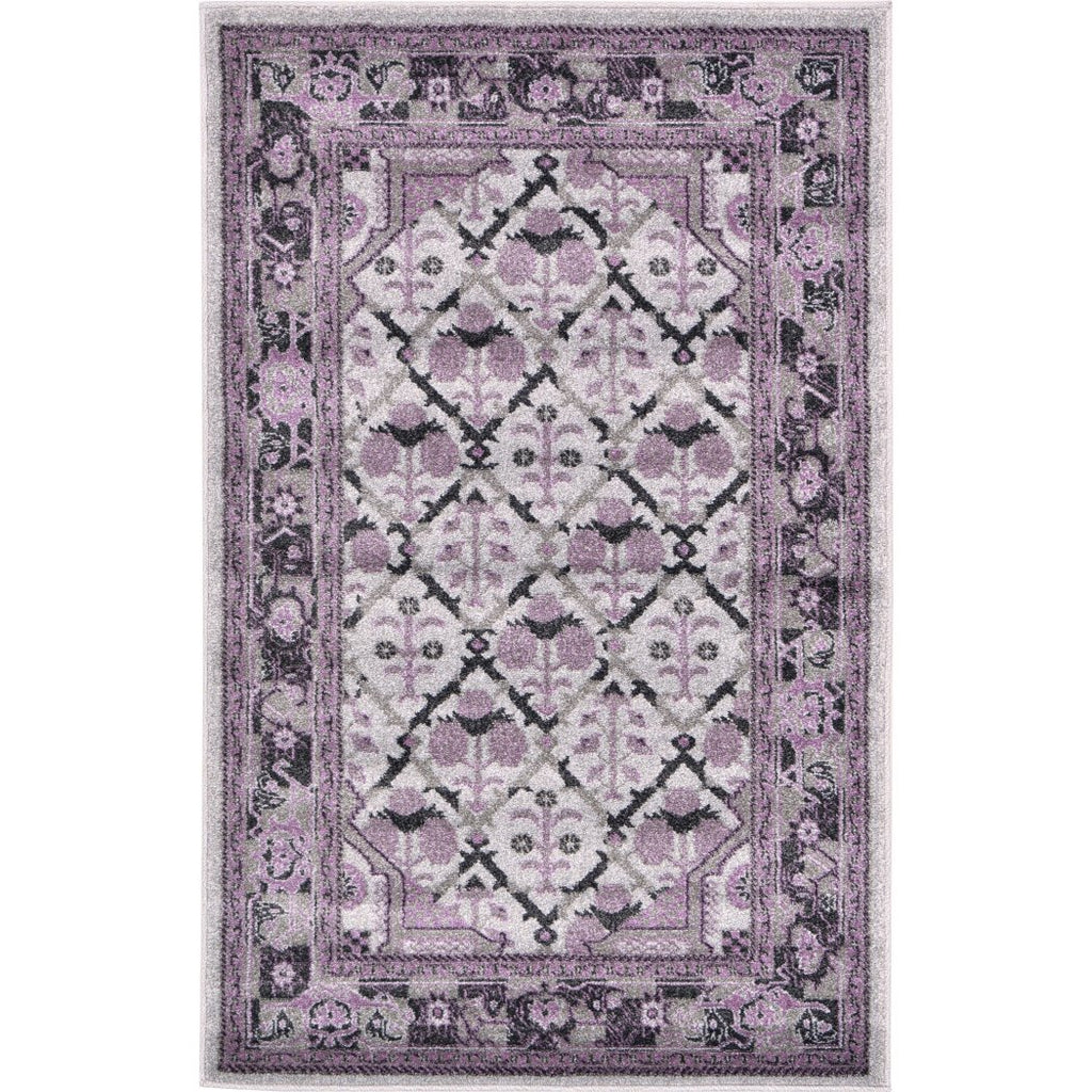 Purple Square Floral Pattern Area Rug (3'2 x 5'2) Gorgeous Geometroc Flowers Textured Persian Design Theme Luxurious Comfort Plum Colored Floor - Diamond Home USA