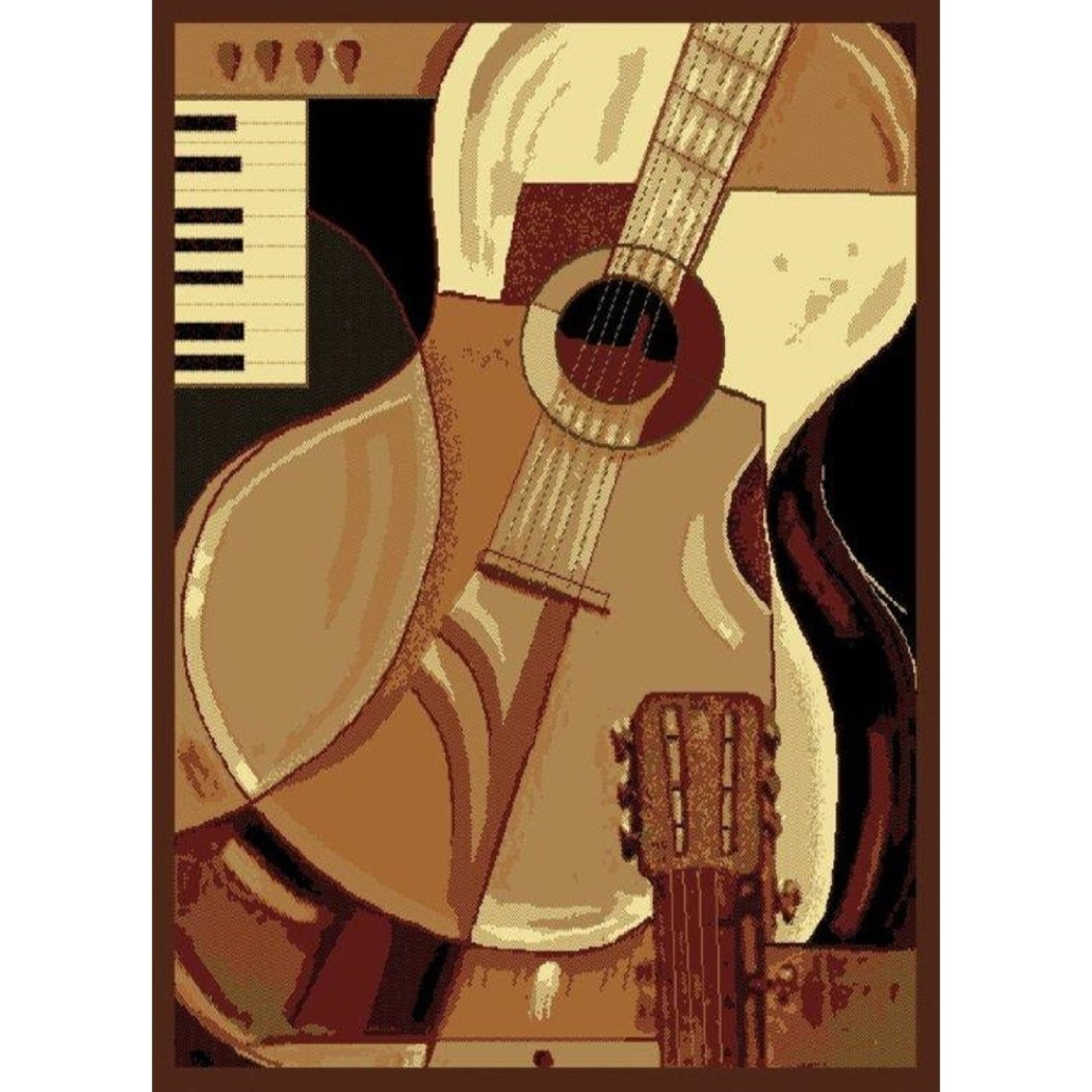 "3'3""x4'11"" Brown Beige Ivory Guitar Piano Printed Area Rug Indoor Outdoor Graphical Pattern Living Room Rectangle Carpet Musical Instrument Themed - Diamond Home USA"
