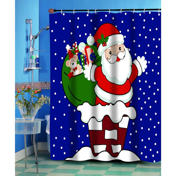 Kids Navy Blue Red White Santa Claus Themed Shower Curtain Polyester Detailed Colorful Textures Printed Abstract Graphic Art Pattern Modern Elegant - Diamond Home USA