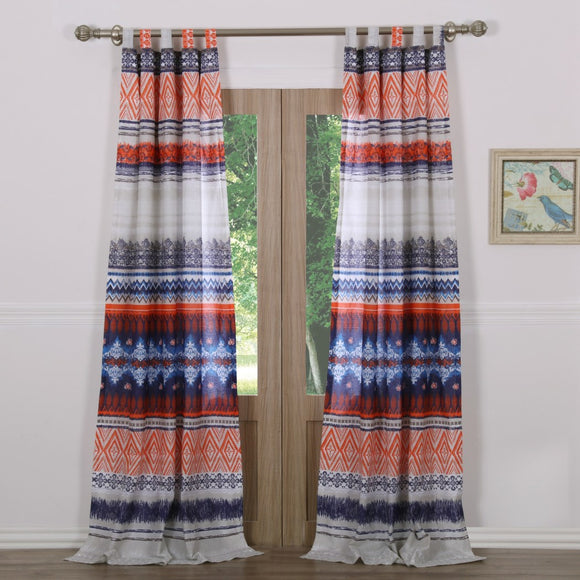 Orange Blue Bohemian Window Curtain Set 84 Inch White Damask Drapes Chevron Stripes Diamond Tribal Light Blocking Window Drapery Lined - Diamond Home USA