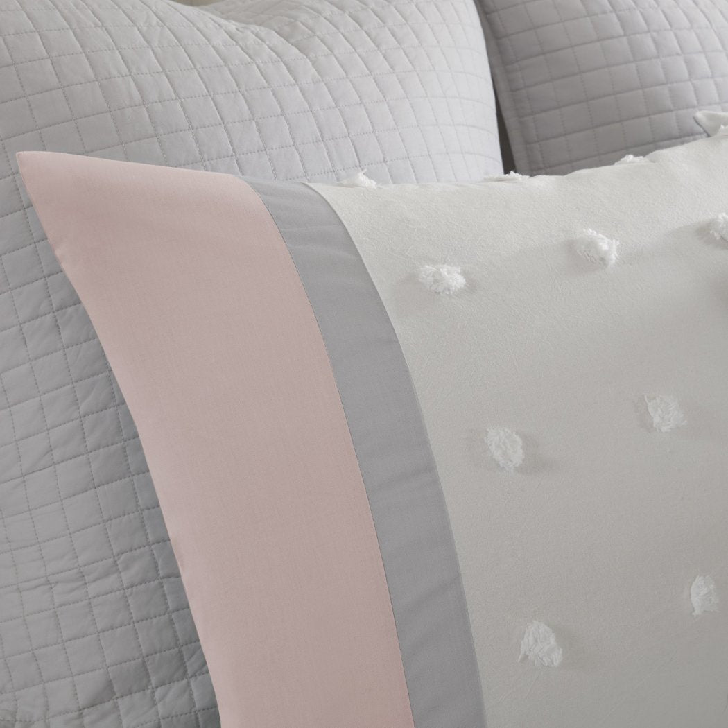 Girls Tufts Dot Stripe Themed Comforter Set Girly Pretty Polka Dots Stripes Bedding Small Circle Polkadot Dot Texture