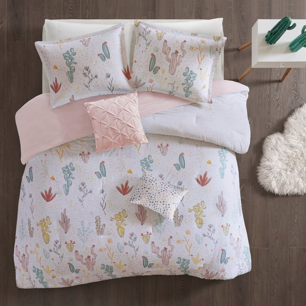 Girls Cactus Themed Comforter Love Cacti Bedding CactaceSuccule Pla Outback Preppy Chic Polka Dot
